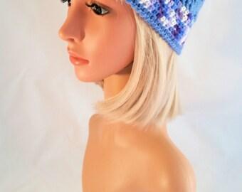 Woman Crochet Hat, winter style, model Carnival, handmade, made in Italy