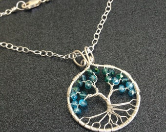 Turquoise Tree of Life on Silver Chain