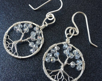 Wife Flower Jewelry Tree-Of-Life Earring Wife Statement Jewelry April Birthstone Crystal Tree of Life Earring Sterling Statement Earrings