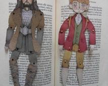The Hobbit Paper Doll - Digital File Only, Paper Dolls, Bilbo Baggins, Thorin Oakenshield, Bagginshield, Illustration, Art, Fantasy, Cute