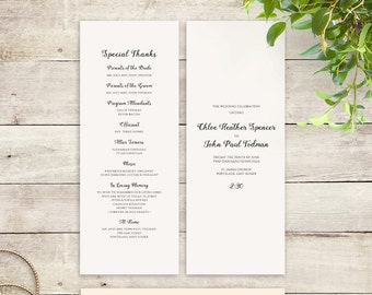 Printable Folded Order Of Service Wedding Program Byron