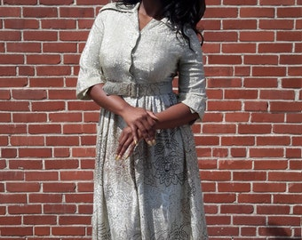 Hanbury Ltd. womens 1970 metallic gold and silver maxi dress size 10