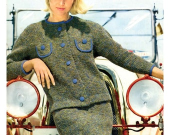 Retro 60s Womens Knitted Suit Pattern with Big Buttons and Solid Edging