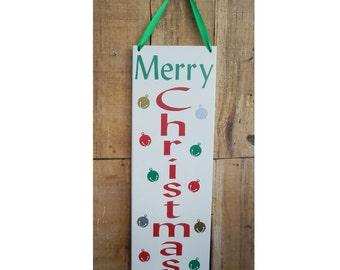 Merry Christmas, 4.75 x 13.5 wall sign, wall hanging, inspirational sign, Christmas sign, Merry Christmas Sign, Merry, Christmas, Bells