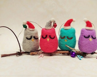 Needle Felted Owl Ornament, Felted Owl Miniature, Santa Owl Ornament, Needle Felted Ornament