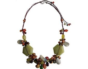 Sweet Golden Dewdrop Handmade Natural Stone Necklace