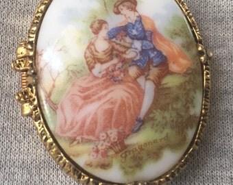 Mary Chess Vintage Porcelain French Fragonard Lovers Perfume Pendant