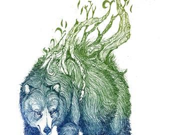 Artio -Bear - Celtic - Fine Art - Etching Print - Mythology - Animal Art - 5 x7