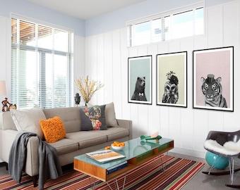 Owl, Tiger & Bear Print, Childrens wall art, Owl art, Animal print, nursery owl print, minimal, wall art decor, digital print, printable art