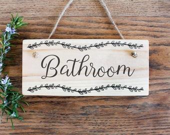 Wooden Bathroom Sign. Rustic Door Sign. Bathroom Decor. Door Hanging. Bathroom Sign