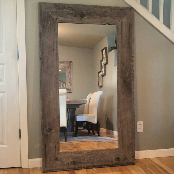 Reclaimed wood mirror rustic home decor mirror reclaimed for Bathroom floor mirror