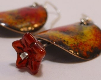 Explosion of Color - Enameled Copper Earrings