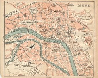 1894 Liege Belgium Antique Map