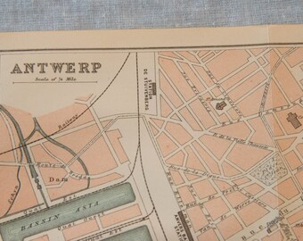 1894 Antwerp Belgium Antique Map