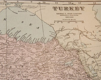 1919 Turkey Antique Map