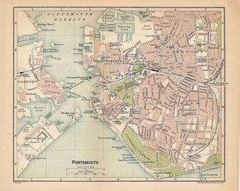 1920 Portsmouth United Kingdom (Great Britain) Antique map