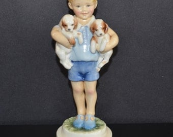 Vintage Royal Worcester Figurine Days of The Week Monday's Child Little Boy with Puppies 3519 Freda Doughty