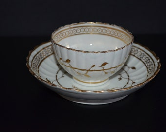 Antique Worcester Tea Bowl & Saucer 18th Century Porcelain 1780s Flight Barr Period