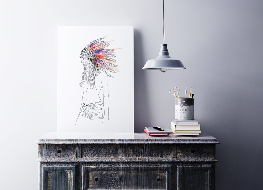 Poster Native American Naked Women Indian Headdress Nude-4446