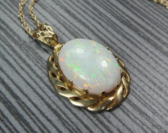 Vintage 14k Opal Necklace Vintage Large Fiery Opal Necklace Genuine Opal Pendant 14k Gold Drop Necklace October Birthstone