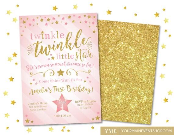 Twinkle Twinkle Little Star Birthday Invitation, Twinkle Twinkle Invite, Pink and Gold Glitter Star Invitation, First Birthday, 1st Birthday