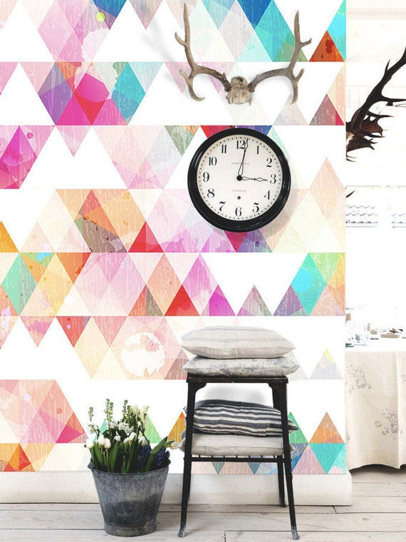 Removable Wallpaper Tiles multi-colored geometric removable wallpaper peel & stick wall