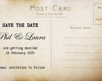 Vintage style save the date wedding postcards