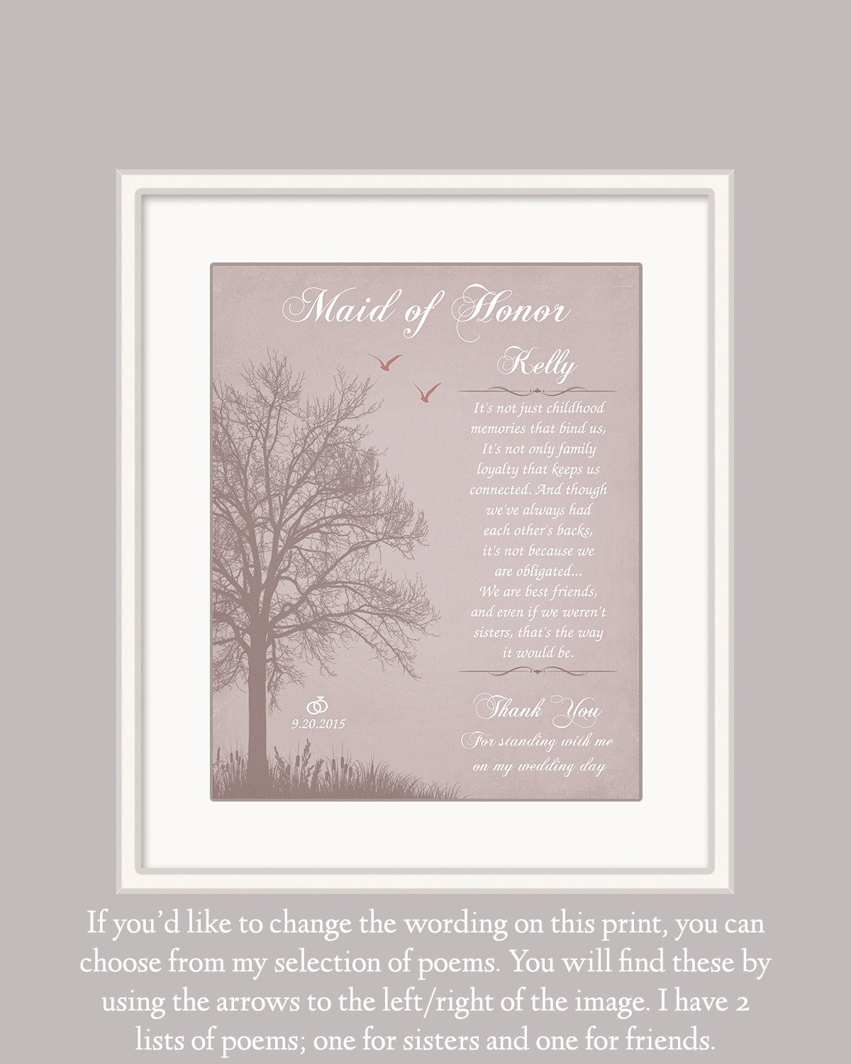 Maid Of Honour Gift Personalized Wedding Gift Sister