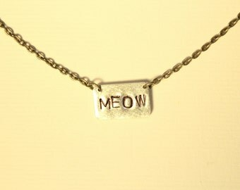 Meow Necklace, Hand Stamped Silver Bar Necklace