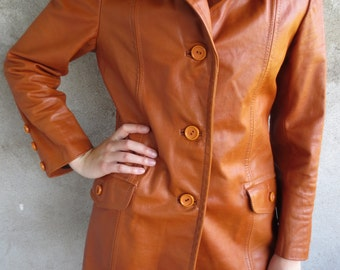 Vintage Brown Leather Jacket 70s, Woman brown Leather Coat, Leather Jacket 70's, Genuine Leather Long Jacket, Leather Trench Coat Size 36, S
