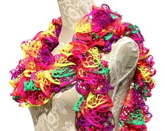 Neon Crochet Scarf, Ruffle Scarf, Colorful Scarf, Scarf, Crochet Ruffle Scarf, Fashion Scarf, Sashay Scarf, Crochet Scarf, Gifts for her