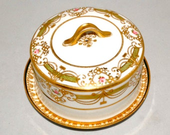 Haviland Lemonge - Double Gold, Single Rose, swag, Butter Dish, Cheese Dish