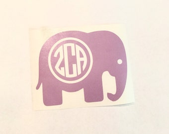 Elephant Monogram Decal - Car Monogram - Vinyl Monogram Decal - Monogram Sticker