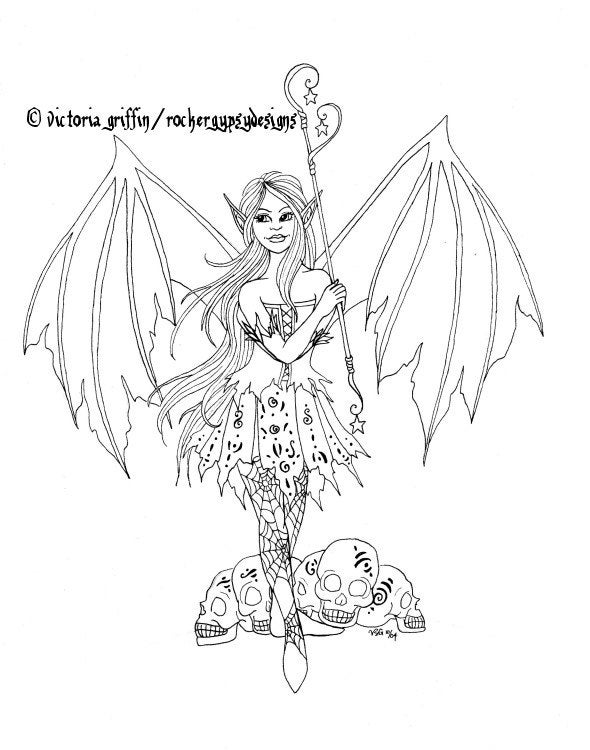 Fairy Coloring Page Halloween Coloring Page Gothic Coloring