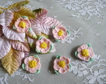 SALE 6 Small Crocheted Pink Flowers with Mint Green Leaves Handmade Appliques for Trims Crafts Altered Art