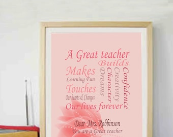 Teachers Gifts Year end gifts Teacher quotes Personalised Teacher Gifts Gifts for Teacher Printables Instant Downloads 8x10 DIY Teacher gift