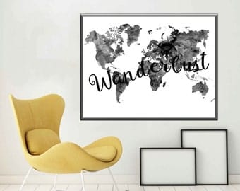 Poster world map print world map art world map wall art large wanderlust poster wanderlust world map print black and white world map modern map print wanderlust map gumiabroncs Choice Image