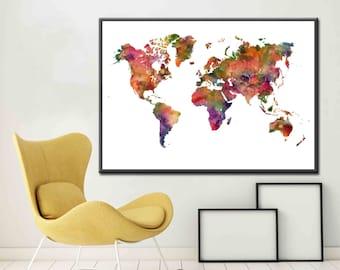 World Map Poster World Map Large World Map Art World Map Decor World Map Print World Map Gift