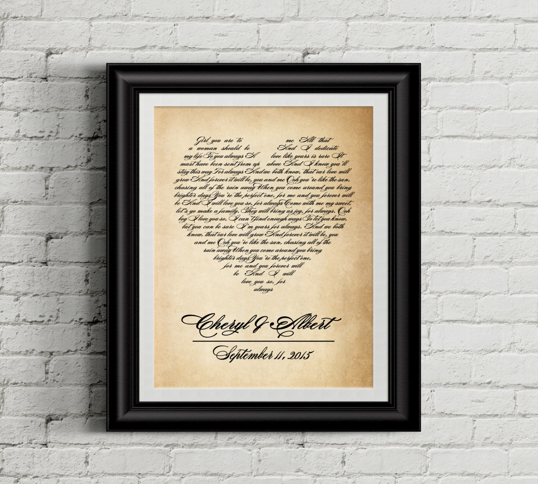 Wedding Song Art Wedding Song Lyrics Wedding Song Gift