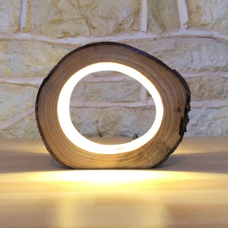 Small LED Log Light Table Lamp Desk Light Real Wooden Log