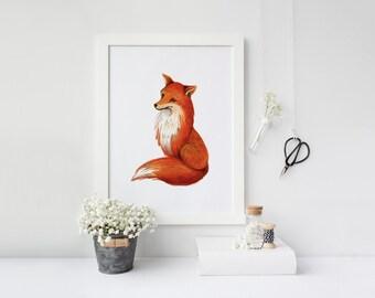 printable art Fox print, fox wall art, woodland nursery print, nursery fox decor, orange nursery decor, fox printable, watercolor fox