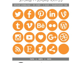 Pumpkin Orange Round Social Media Icons - [ 35 px, 50 px, 75 px ] [ INSTANT DOWNLOAD ]- [ Transparent PNG ]