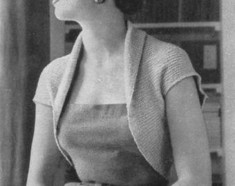 Vintage 1953 Knitting Pattern Ladies Bolero (2 Sizes) - digital download