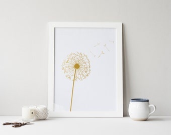 PRINTABLE Art Dandelion Print, Gold Foil Print, White and Gold, Dandelion Art, Gold Dandelion, White and Gold Dandelion, Flower Print
