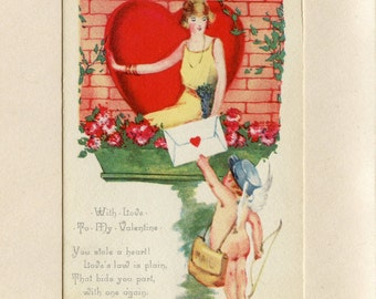 Vintage Valentines Day Postcard Pretty Lady in Heart Cupid with Bow in Messenger Hat by Samuel Gabriel Used Doris Branch Salisbury VT 5411P