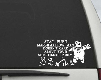 Ghostbusters Stay Puft Marshmallow Man Doesn't Care About Your Stick Figure Family Car Decal Ghostbuster Sticker