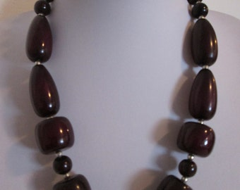 Dark Purple Large Beaded Necklace