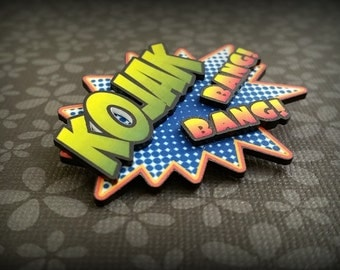 Comic Pin - Comic Book Pin - Comicon - Kojak - Bang Bang - Fun Pin - Cartoon Pin - Wearable Art - Plastic Pin - Handmade Art - Shrinky Dink