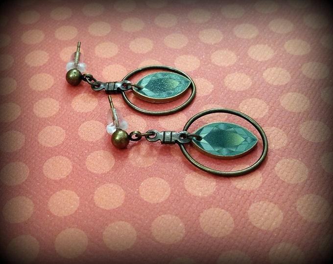 Green Gemstone Earrings - Faux Gemstone Earrings - Cats Eye Earrings - Shrink Plastic Charms - Handmade Earrings - Faux Show Art