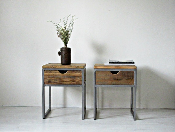Industrial bedside table wood and steel nightstand rustic for Wood and metal bedside table